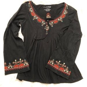RXB Embroidered Long sleeve black top- Size S
